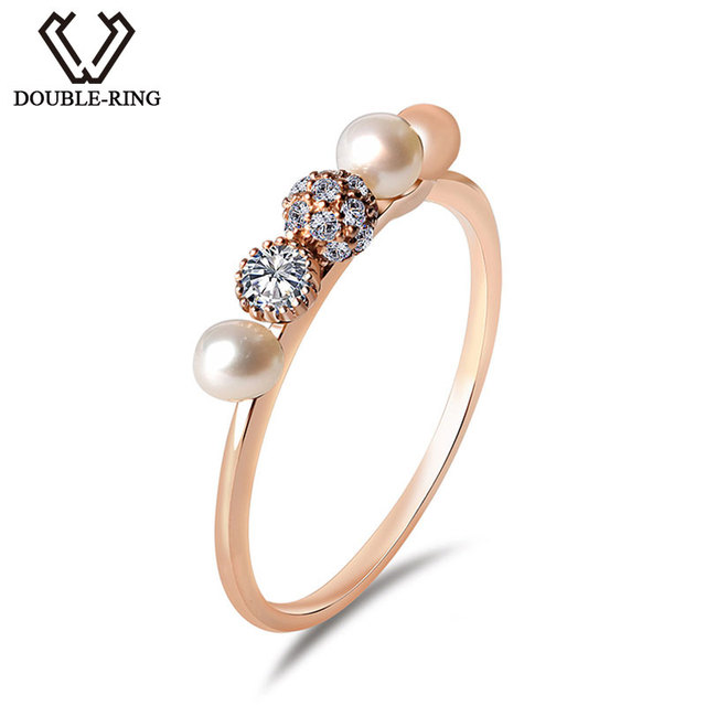 DOUBLE R Fine Jewelry Pearl 18K Gold Ring 0.0179ct Diamond Ladies Bridal Wedding Engagement Ring for Women CASR01012KA-3