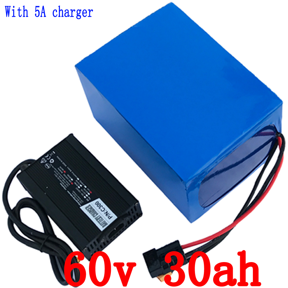 Free shipping 60V 30AH Ebike Scooter battery 60V 16S 2000W Lithium Battery 3.7V 5000MAH 26650 Cell 50A BMS and 67.2V 5A Charger цена