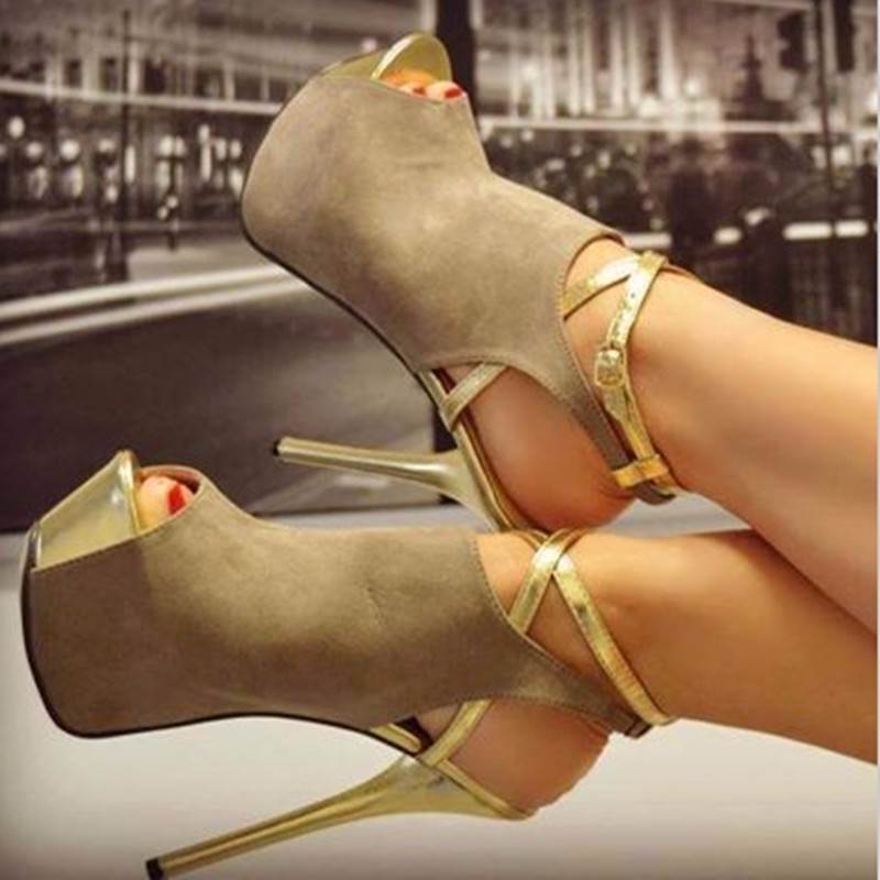 SHOFOO shoes.Elegant and stylish free shipping, brown cashmere leather, 14.5 cm high-heeled sandals, women's sandals. SIZE:34-45 shofoo shoes elegant and stylish free shipping brown cashmere leather 14 5 cm high heeled sandals women s sandals size 34 45
