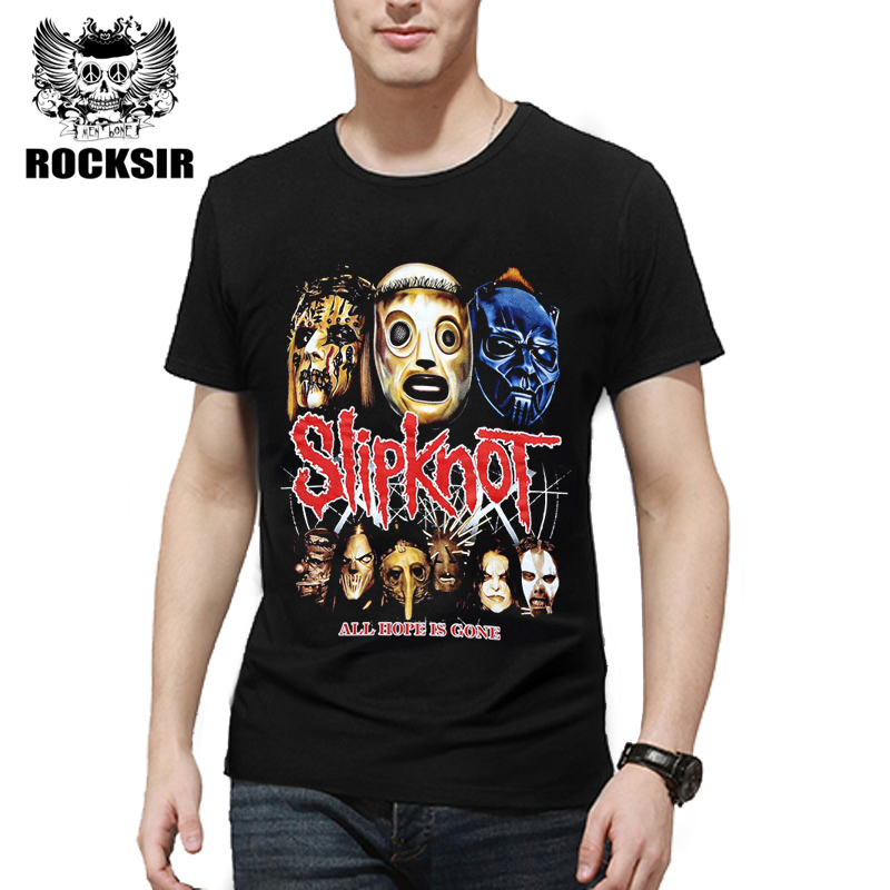 Rocksir 2017 Summer Style Fashion Men   T     Shirt   Black   T  -  Shirt   Tshirt Men's   Shirt   Cotton Rock Band Slipknot Print Hip Hop Tee