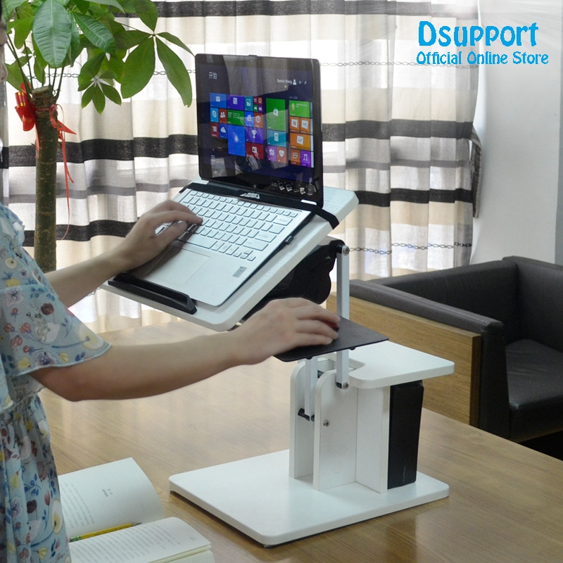 New arival Full Motion Long Arm Multifunctional Moving Laptop Desk Sofa Bedside PC Stand Lazy Lift Mobile Computer Table multifunctional household computer computer desk standing mobile lazy table can freely lift table