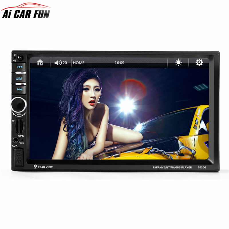 7020G 7 inch 2Din Car MP5 Player with Rearview Camera Bluetooth FM GPS Navigation Touch Screen Car Audio Stereo Remote Control 7 inch universal 7020g car bluetooth audio stereo car mp5 player without rearview camera touch screen gps fm am navigation hot