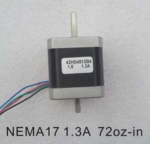 2pcs/lot Dual Shaft NEMA 17 Stepper Motor 52N.cm (72 oz-in) Body Length 48mm CE Rohs CNC 3D Printer Motor