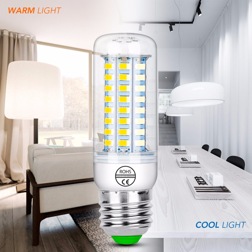 220V E27 Led Lamp E14 Led Corn Bulb Candle LED Light Bulb 24 36 48 56 69 72 Lampada Led B22 SMD5730 Kitchen Chandelier Lighting