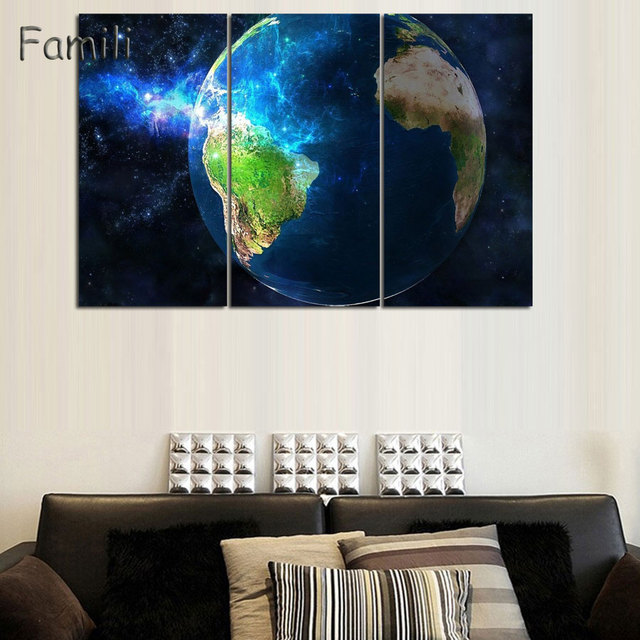 Us 8 78 30 Off Large Size Printing Oil Painting Earth Galaxy Universe Wall Painting Decor Wall Art Picture For Living Room Painting No Frame In