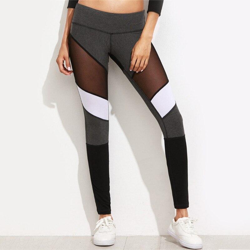 Wanita Legging Kebugaran Hitam Kasual Leggins Workout Celana Mesh - Pakaian Wanita - Foto 1