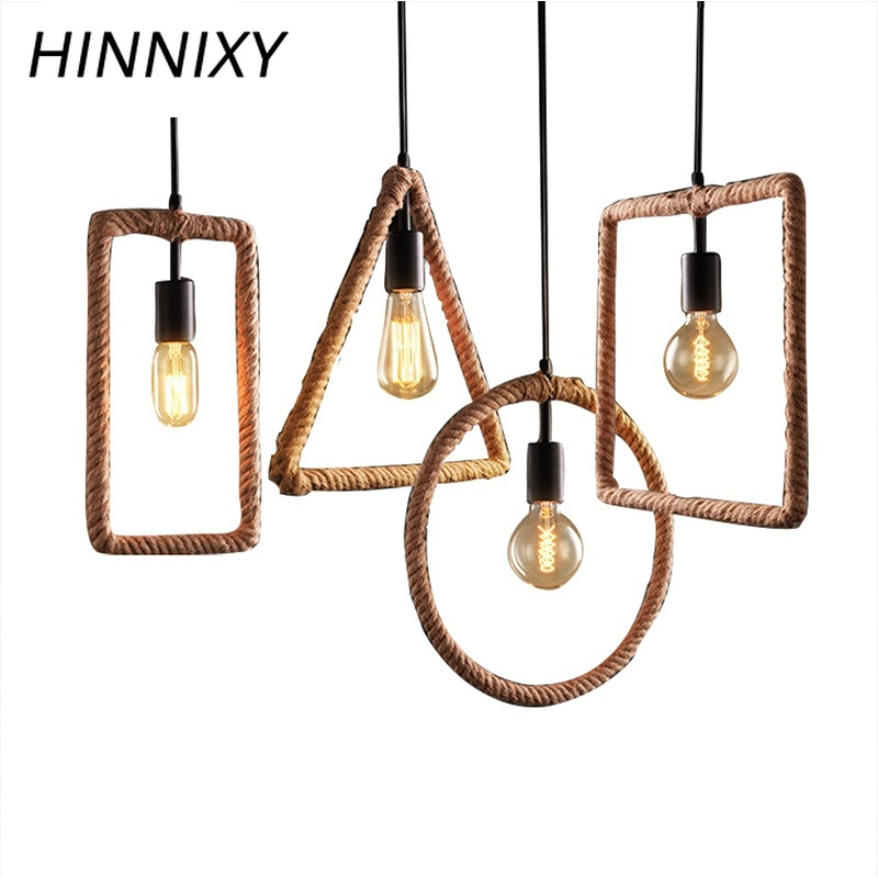 Hinnixy Triangle Round Square LED Pendant Lights Hemp Rope Modern Art Deco Hanglamp Parlor Restaurant Loft Bar E27 DroplightsHinnixy Triangle Round Square LED Pendant Lights Hemp Rope Modern Art Deco Hanglamp Parlor Restaurant Loft Bar E27 Droplights