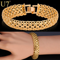 U7 Brand Bracelet Chunky Hand Chain Fashion Gold Plated Men Jewelry Wholesale H537