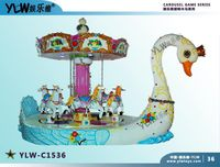 YLW C1536 Amusement Kiddie Ride Coin Operated 6 Seat Swan Carousel Children Merry Go Round For