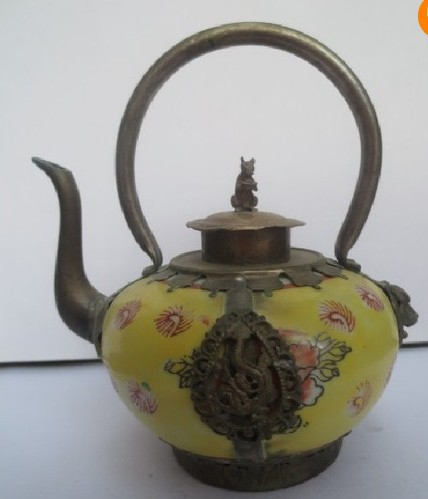 christmas decorations for home+ Chinese Old Tibet Silver Porcelain Tea pot Mouse Lid Free Shipping