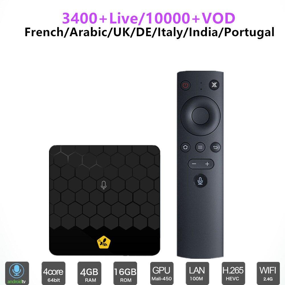 Peigne Arabe IPTV Boîte 1 Année 3000 + Abonnement USA Française ROYAUME-UNI Espagne italia Inde Nordique Brésil Canaux Intelligent android tv box m3u