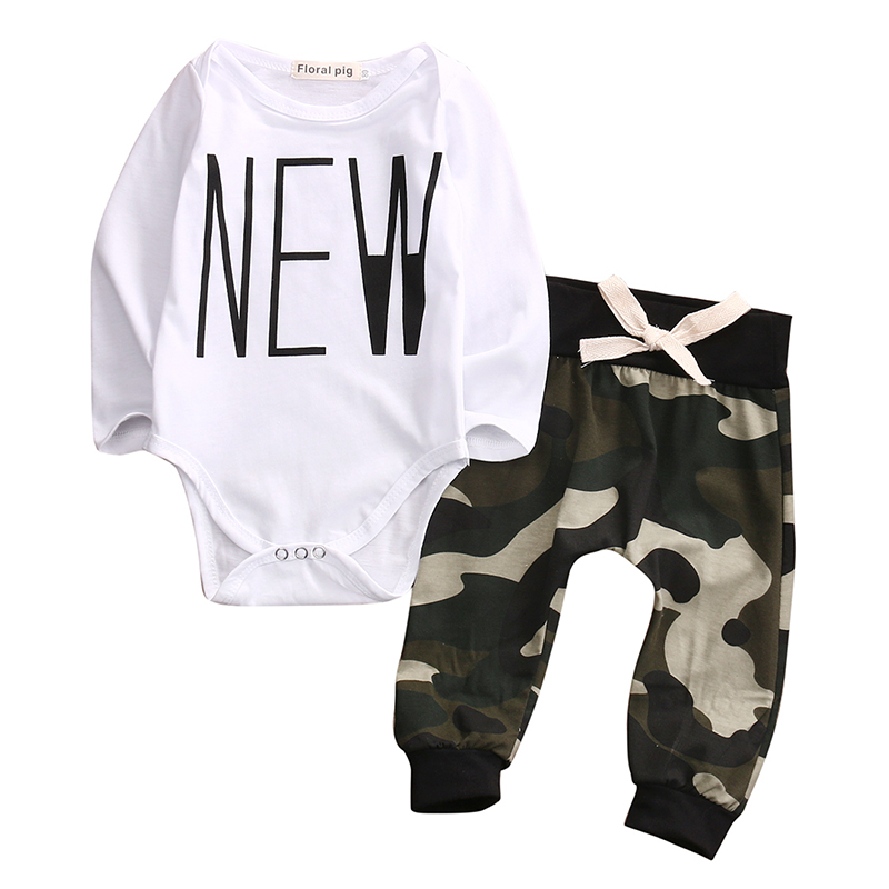 Cute Camouflage Newborn Baby Boys Kids Bodysuit Tops+Long Pants Outfit Clothes Set