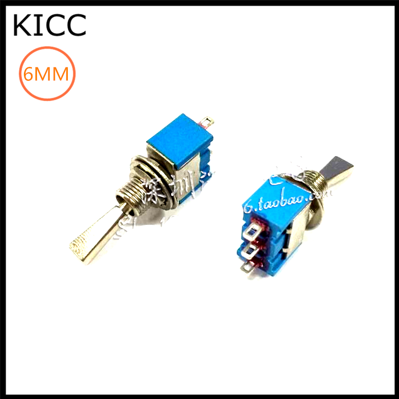 6MM Blue Flat handle 3Pin 3File MTS-103 Rocker switch 6A125V ON-OFF-ON Toggle Switch 5Pcs on off on 3 positions 4pdt 12 pin terminal rocker type toggle switch ac 250v 2a mts 403