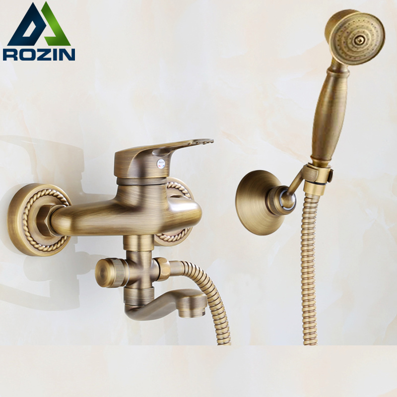Antique Brass One Handle Longer Spout Kitchen Faucet Hot and Cold Water Two Holes Handshower Bathroom Kitchen Mixer Taps