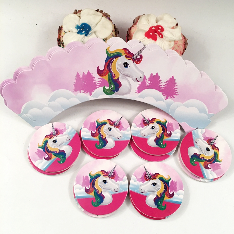 24pcs Unicorn Cupcake Wrappers Cake Cupcake Toppers Baby Shower Kids Birthday Party Decoration Supplies 12 wraps+12 topper NEW