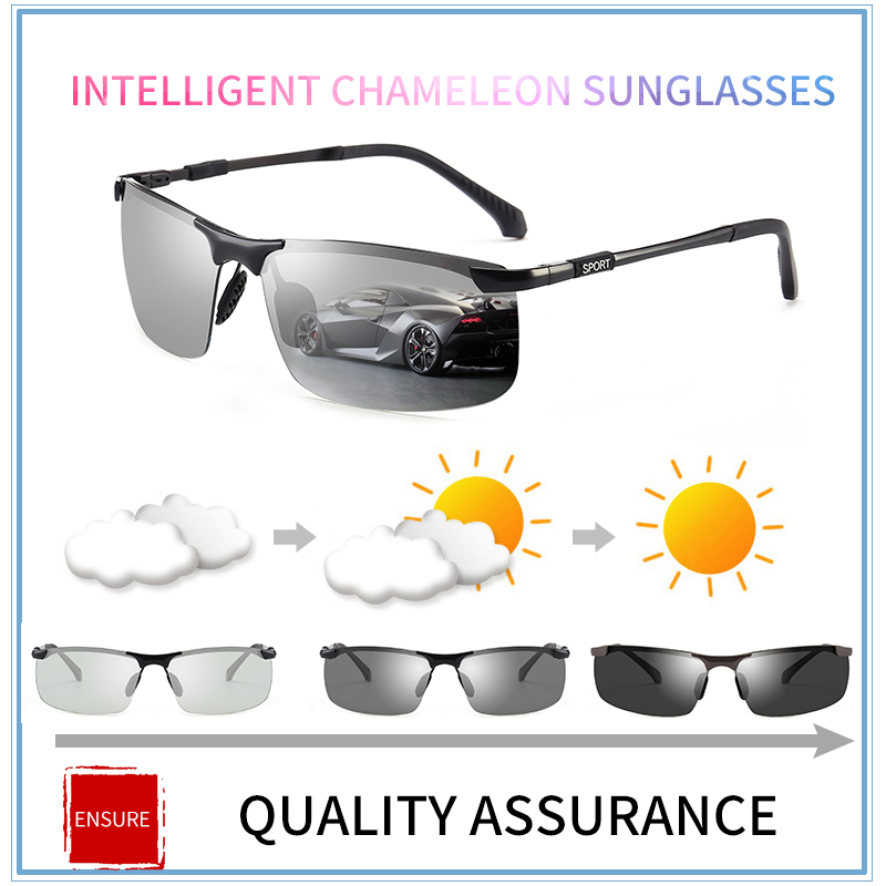 2018 marca Fotocromatiche Occhiali Da Sole Polarizzati Uomini Chameleon Scolorimento occhiali da Sole per gli uomini di moda senza montatura occhiali da sole quadrati