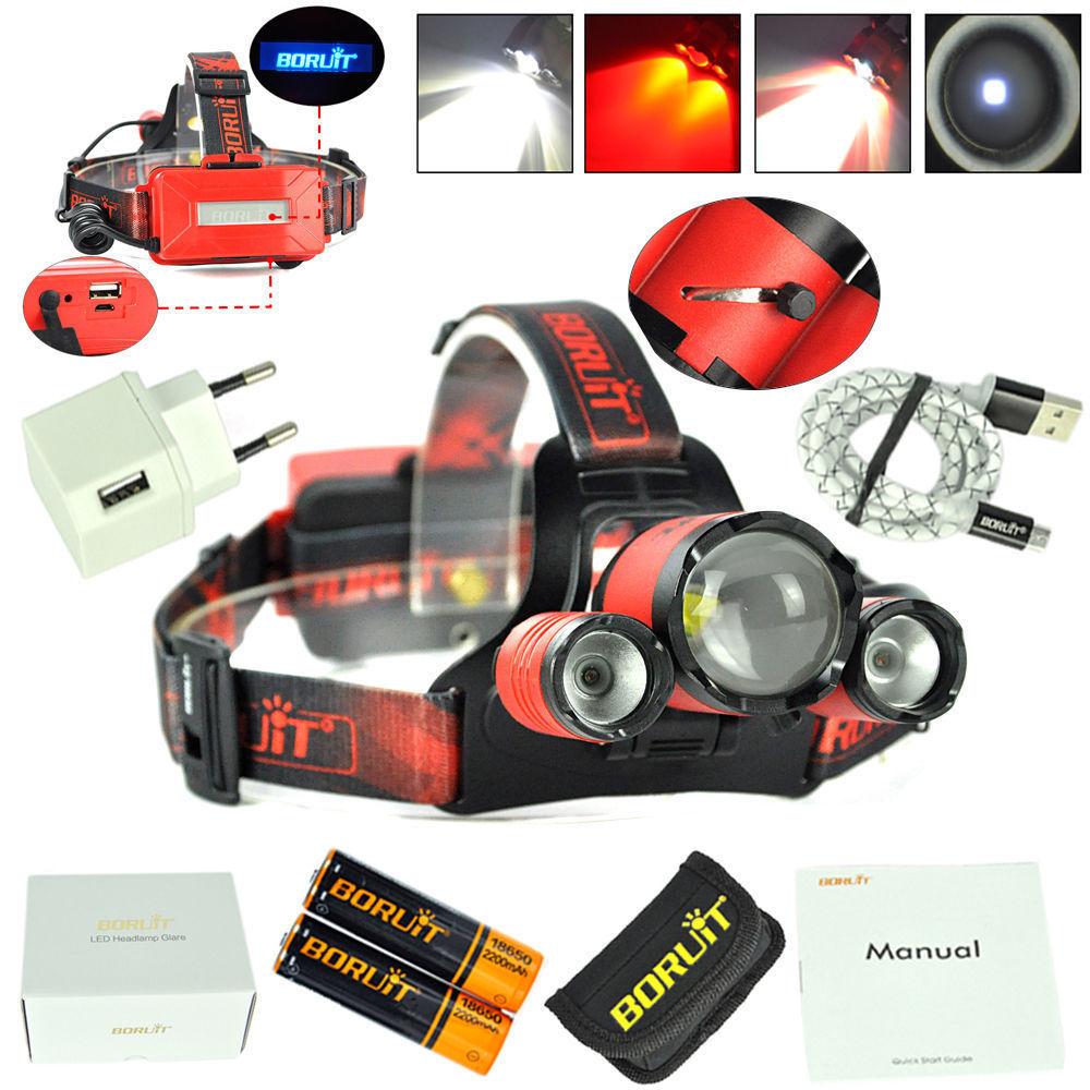 BORUIT B22 XM-L2+2X XPE Red LED Hunting Headlamp Micro USB Headlight Torch 2x18650 PCB Batteries+Wall charger Head+USB+Cloth bag t6 xpe led head lamp 50w zoomable headlamp 5leds headlight tube torch led flashlight car charger 18650 batteries high lights