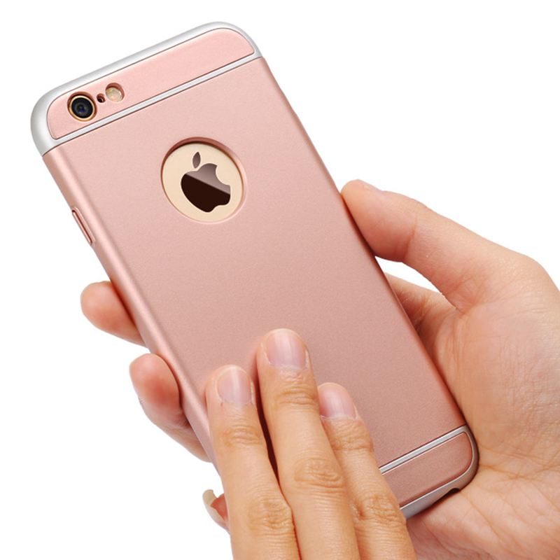 3 in 1 Hybrid Slim Phone Case for fundas iPhone 7/6/6s Fashion Rose Pink Metallic Hard M ...
