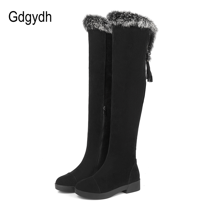 Gdgydh New Real Fur Over the Knee Boots Winter Boots Women Thick Heels Black Lacing Zipper Suede Winter Warm Shoes Plus Size 2017 winter new clothes to overcome the coat of women in the long reed rabbit hair fur fur coat fox raccoon fur collar