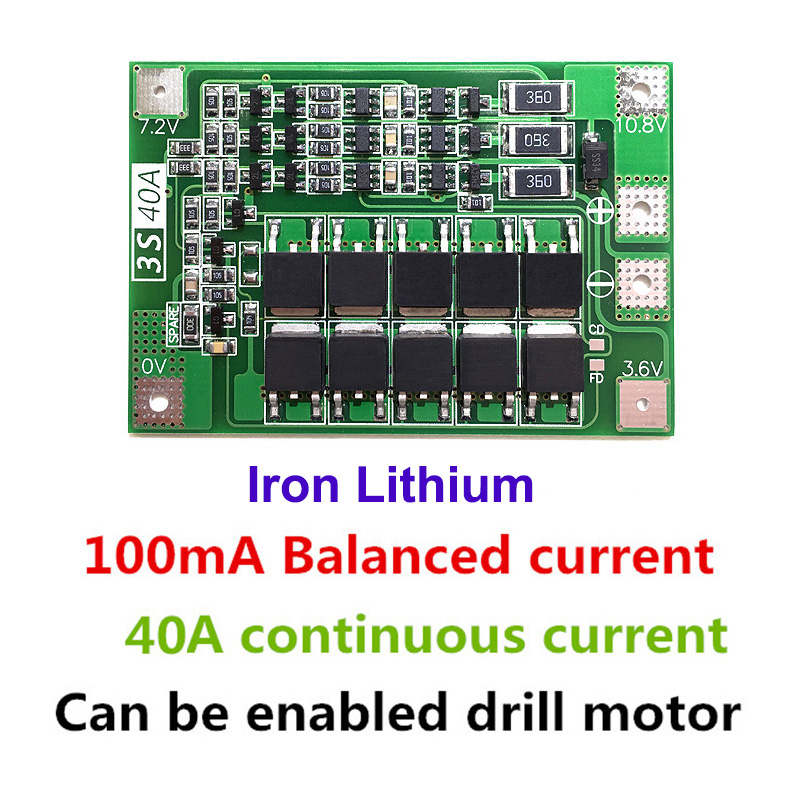 5pcs/lot 3S 40A Iron Lithium Battery Charger Protection Board PCB BMS For Drill Motor 9.6V 10.8V Lipo Cell Module With Balancer