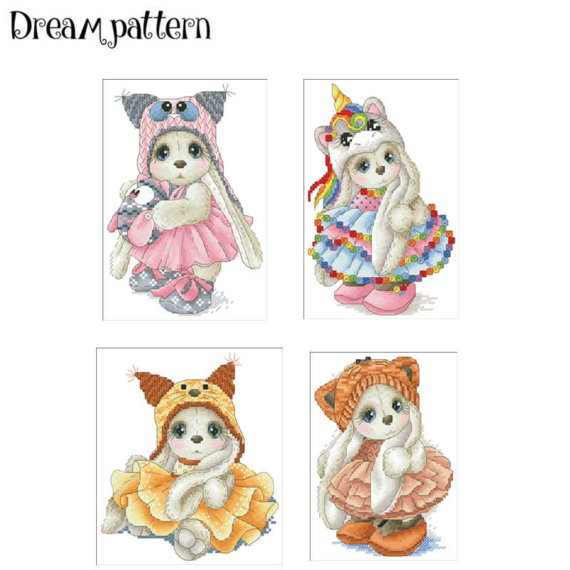 Cute girl unicorn hat cross stitch package cartoon animal 18ct 14ct 11ct cloth cotton silk embroidery DIY handmade needlework