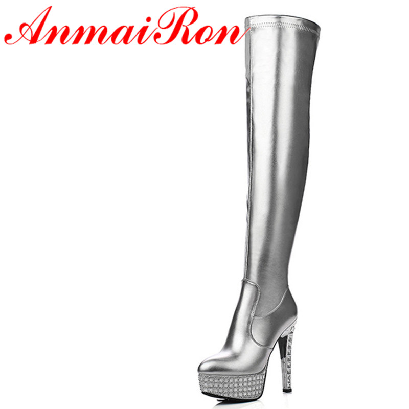 ФОТО ANMAIRON Sexy Extreme Rhinestone High Heel Long Boots Women Stretch Fabric Patent Leather Platform Thigh High Boots Silver Black