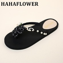 HAHA FLOWER summer season Women's Sexy Camellia Flip-Flop Sandals Flat  slippers sandals  wedges sandal ladies footwear plus dimension A10