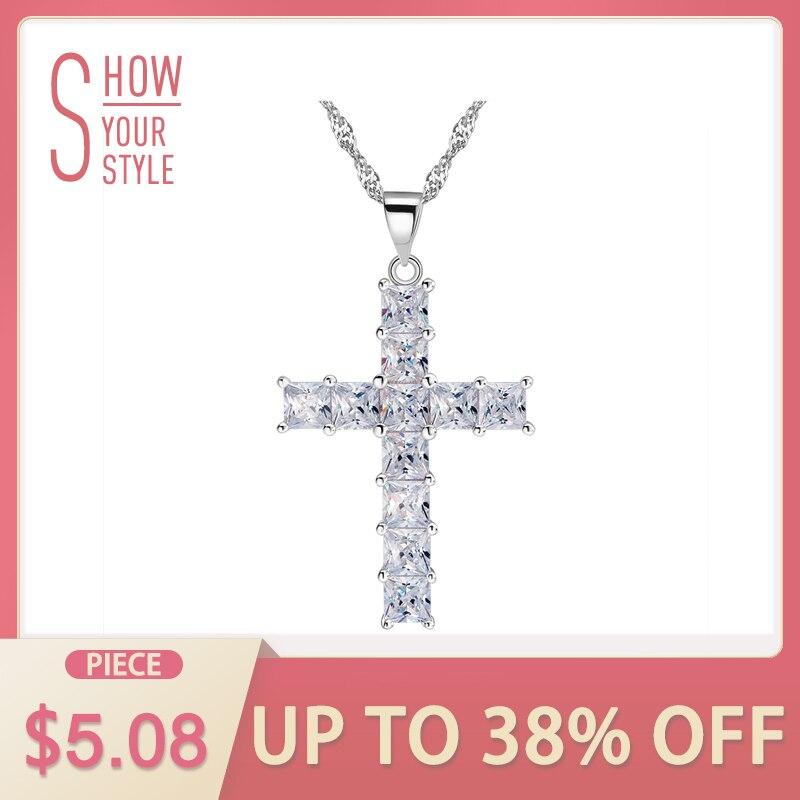 Colar de pingente de cruz de luxo feito de 11 peças princesa corte zircão cúbico colar de pingente para senhoras e mulheres ON100