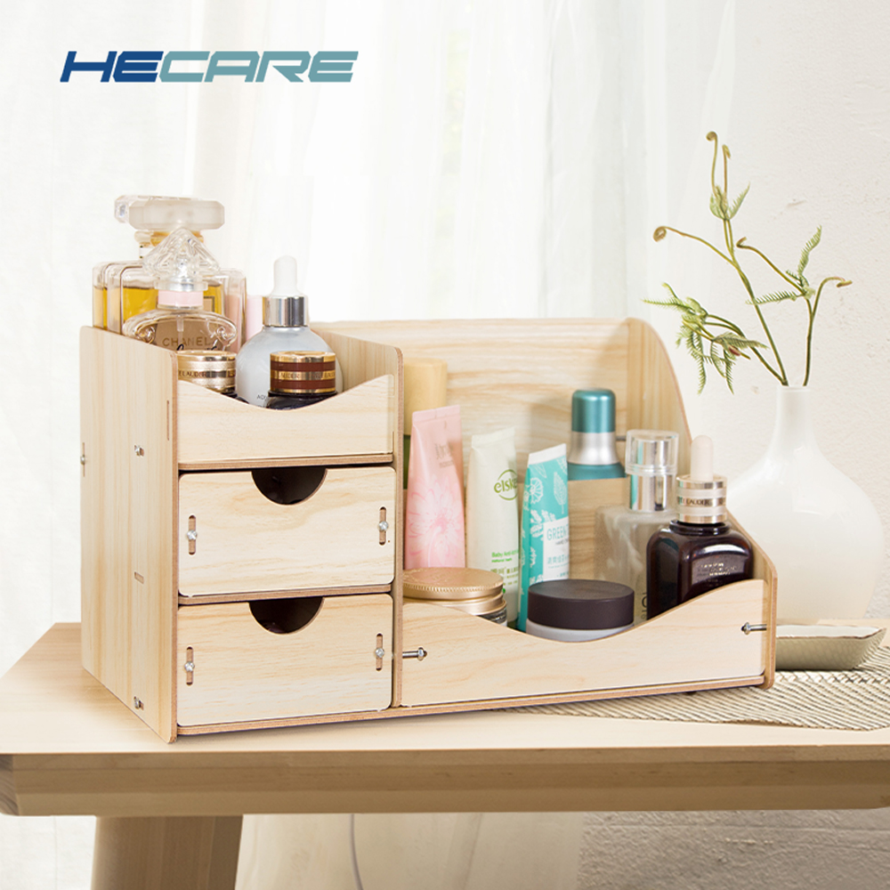 HECARE Wooden Storage Box Jewelry Case Oak Color Large Makeup Case Wood Desktop Organizer for Cosmetics Jewelry Box Gift New