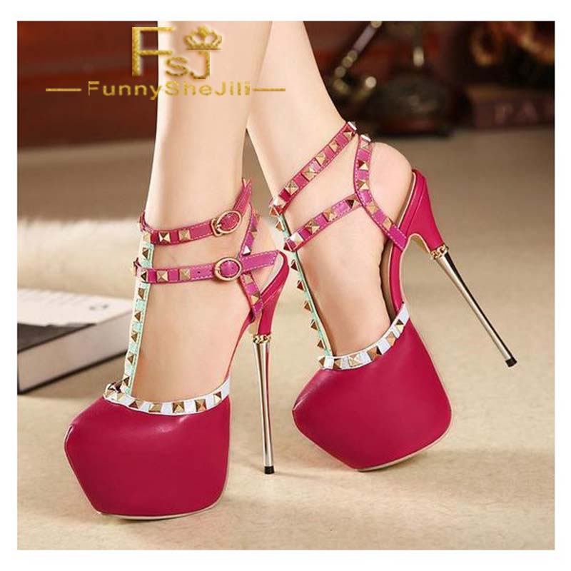 Red T Strap Pumps Rivets Sequined Almond Toe Platform Heels Summer Fashion Attractive Incomparable Women Shoes FSJ Elegant Sexy basic pump