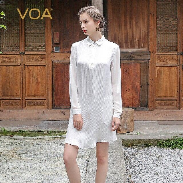 1ff06b42f VOA seda de Europa y América de La Calle femenina blusa blanca de manga  larga camisa