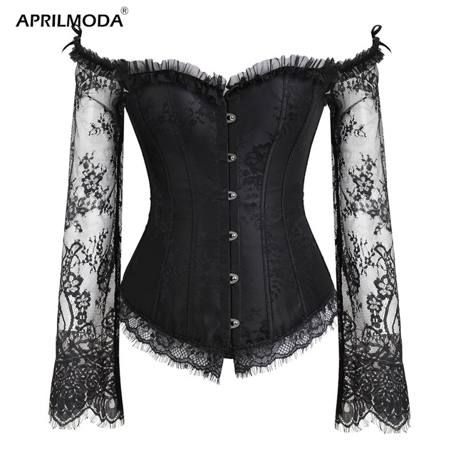 2019 Sexy Lace Steampunk Overbust Corset Vintage Women Satin Corset and Bustier Tops Halloween Costume Party Club Wedding Gothic