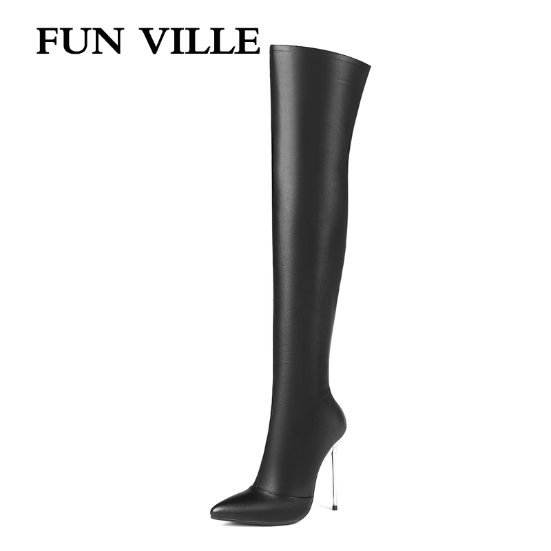 FUN VILLE Sexy Women Over the knee Boots 2018 Autumn Winter High Heel Patent leather Pointed toe Lady botas shoes size 34-43 plus size 34 43 autumn winter genuine leather women flower shoes lady high heel long boots embroidered over knee high snow boots
