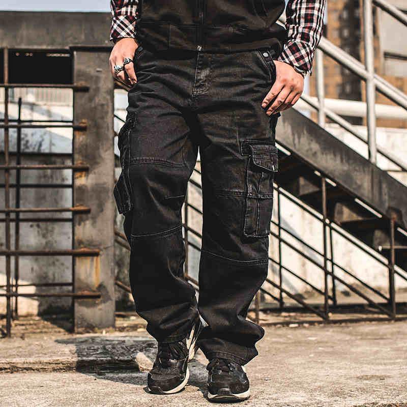 Aliexpress Com Buy Japan Style Plus Size Mens Denim Cargo Pants