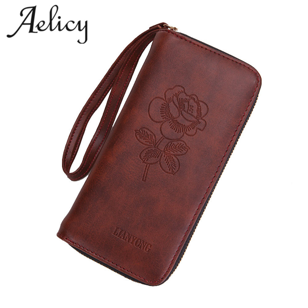 Aelicy Women Wallets Rose Pattern Ladies Purse Zipper Brand Design Female Clutch Wallet Girl Money bag Card Holders Handbag original projector lamp bulb ec 72101 001 for acer pd721 projectors