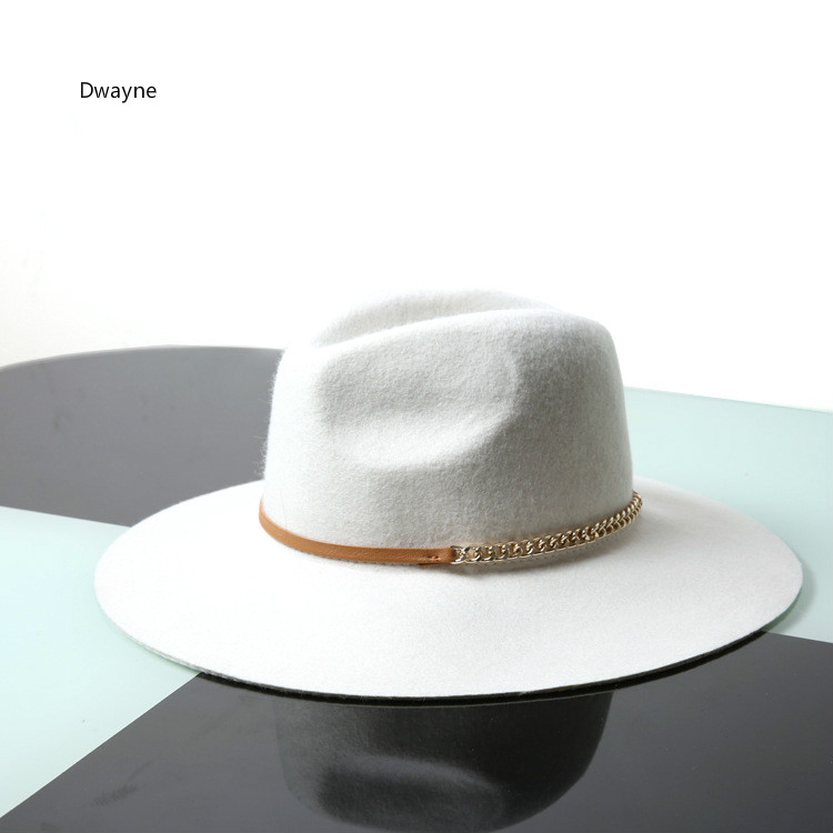 2017 Women Wool Chain Hat Fashion White Wool Felt Pillbox -7009