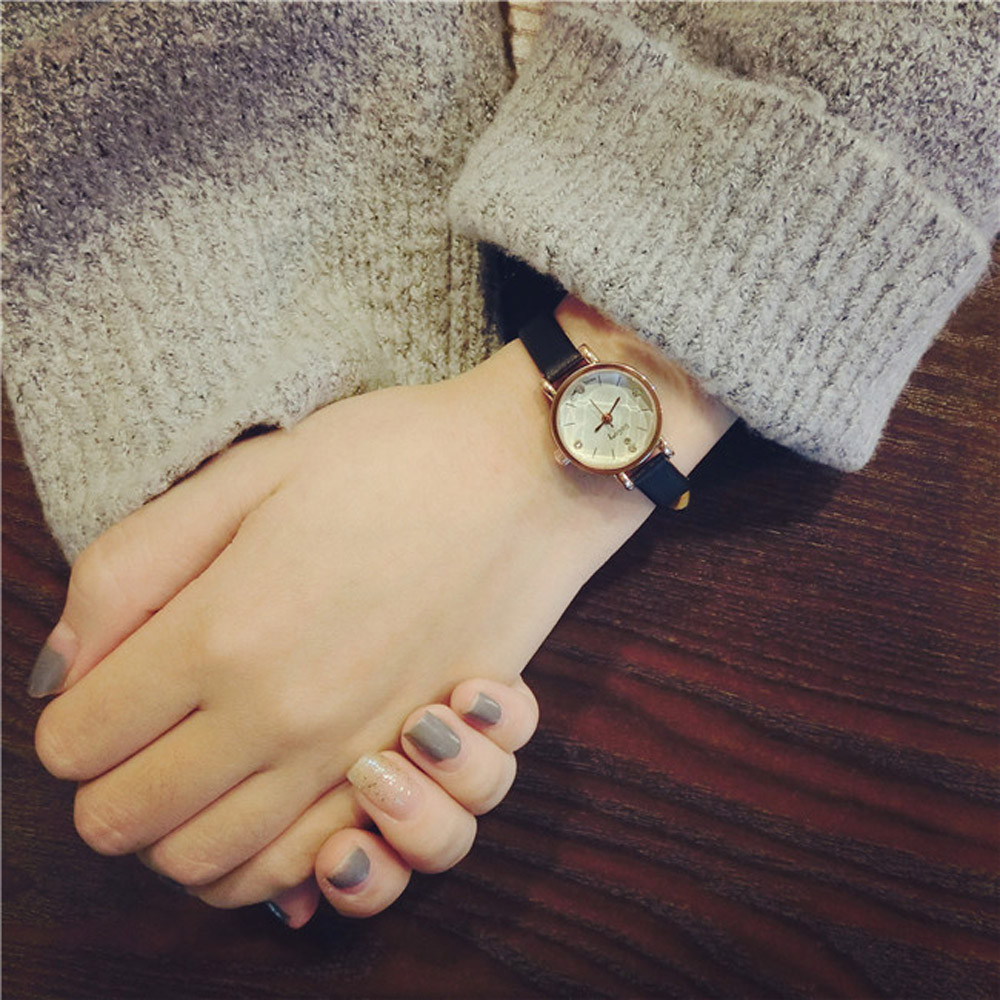Simple Retro Small Girls Watch Dial Female Table Belt Casual Wave Clock Uhren Relojes Mujer Metal Montre Femme#77