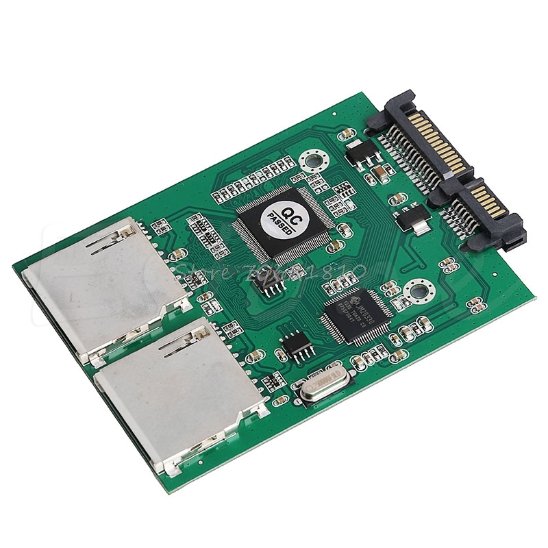 New 2 Port Dual SD SDHC MMC RAID to SATA Adapter Converter For Any Capacity SD Card Z09 Drop ship tower pro mg90 metal gear servos with parts