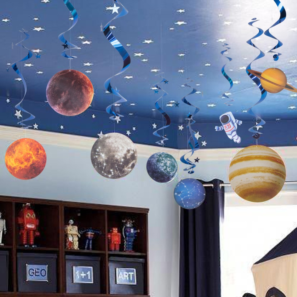 10pcs Space Galaxy Hanging Swirl Decoration Outer Planet Rocket Astronaut Flight Kids Boy Birthday Home Party Supplies