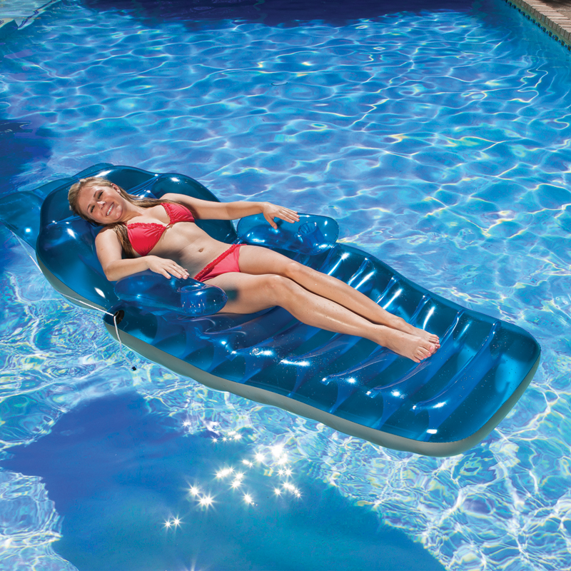 Comfortable inflatable Float Chair Floating Bed Lounge PVC Foldable Bed Giant Inflatable Pool float Beach Pool Raft Air Mattress 4 person island inflatable water group pool float lake river floating lounge raft backrest recliner floating sleeping bed chair