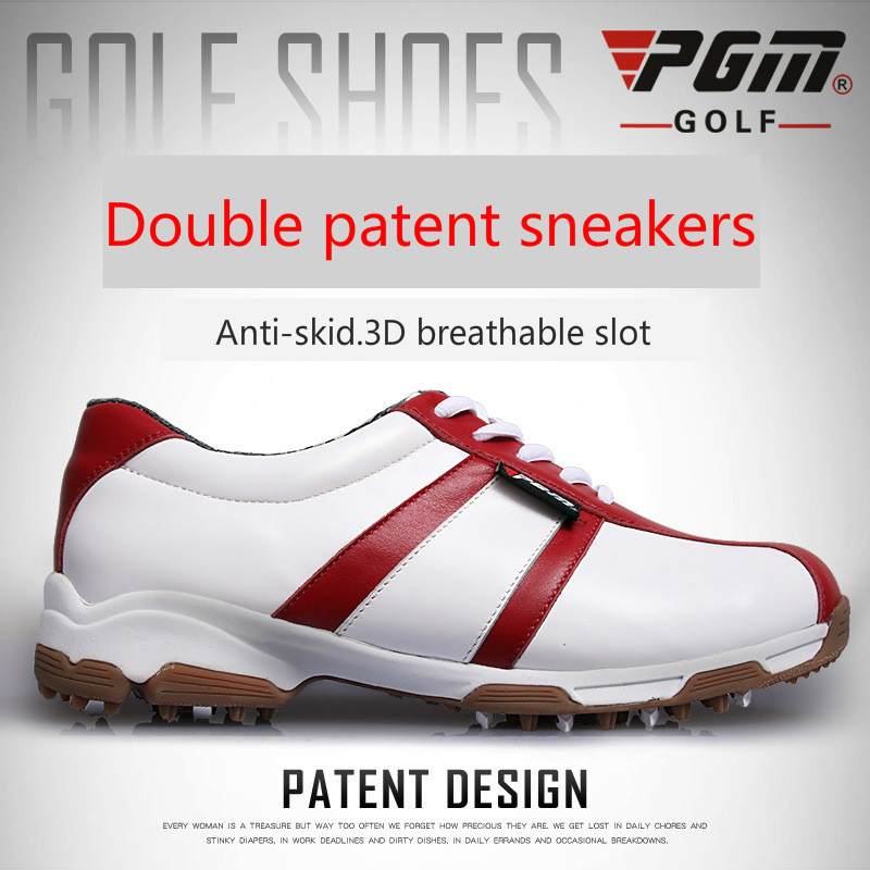 PGM Genuine Leather golf shoes womens Non-slip patent Golf Sneakers Ultralight waterproof breathable Female Sports shoes 35-39