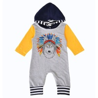 Infant Bodysuit Pullover Kids Clothes Autumn Indian Wolf Hoodie Jumper Suit Outfits Long Sleeve With Hat
