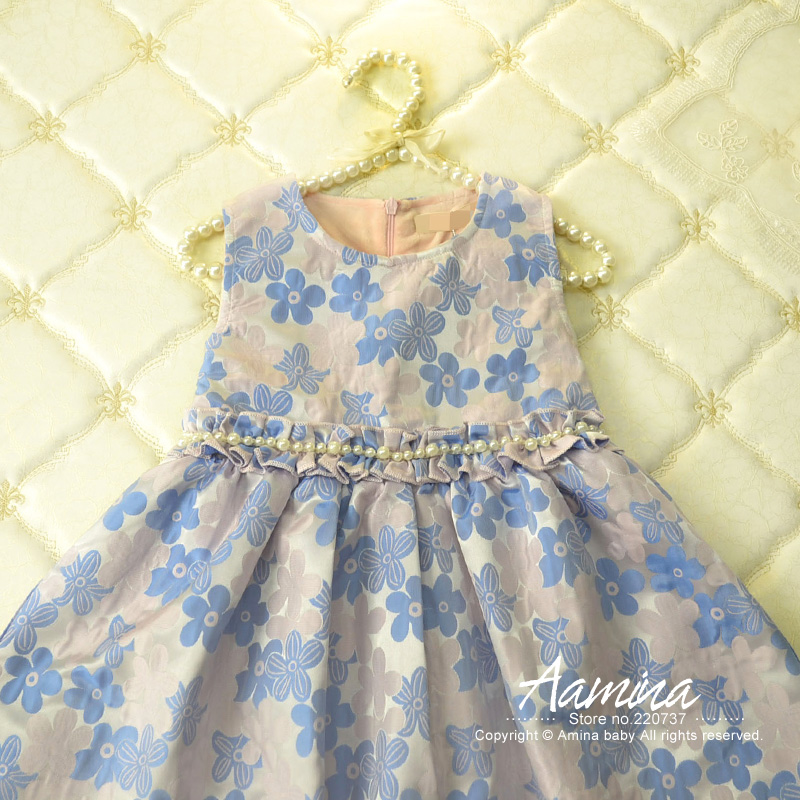 Retail,2016 New Autumn and Winter Brand Girls Dresses Princess Party Dress Flower Children's Wear sleeveless Wedding Dresses1209