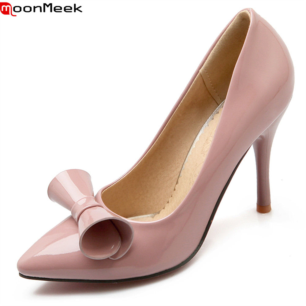 MoonMeek spring summer pointed toe high heel women pumps with butterfly knot thin heels slip on pink red black ladies shoes women genuine leather slip on pointed toe lazy shoes sweet bow knot shallow party spring autumn women pumps black pink