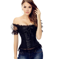 S XXL Gothic Women Tapestry Lace up Boned Corset Overbust Bustier with Short Lace Sleeves Black Yellow Blue