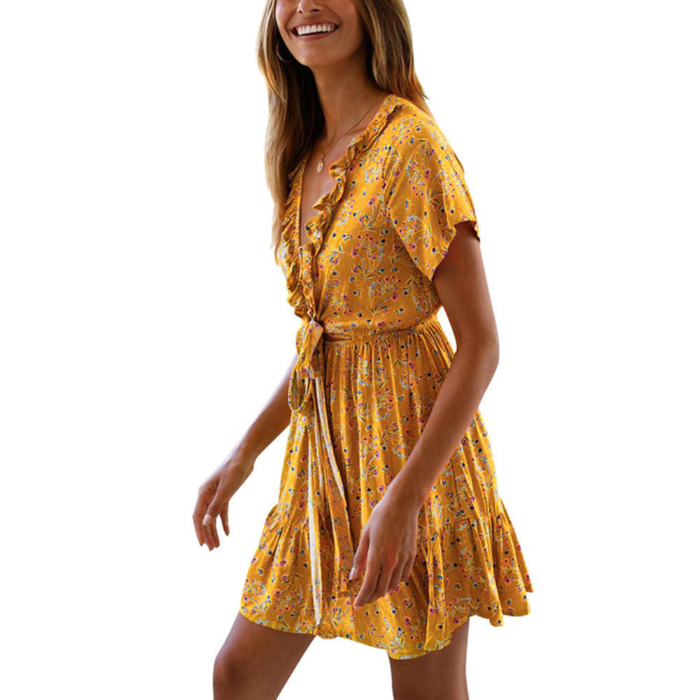 Seluxu 2019 קיץ Midi פרחוני הדפסת חוף שמלה קצר שרוול עמוק צווארון V ערב המפלגה שמלה