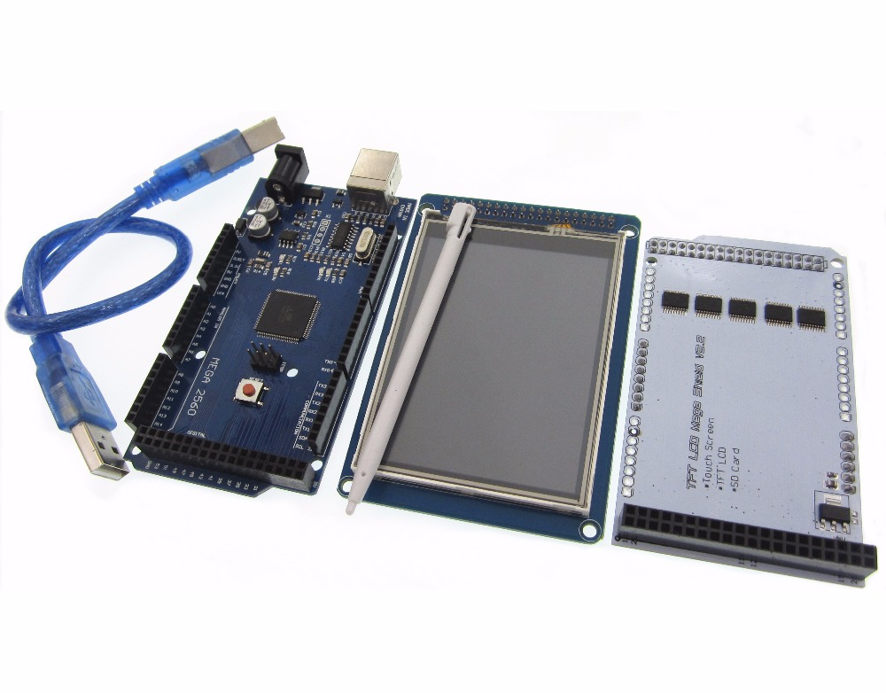 1 paire = 3 pcs 3.2 TFT LCD Tactile + TFT 3.2 pouce Bouclier + Mega 2560 R3 avec usb câble