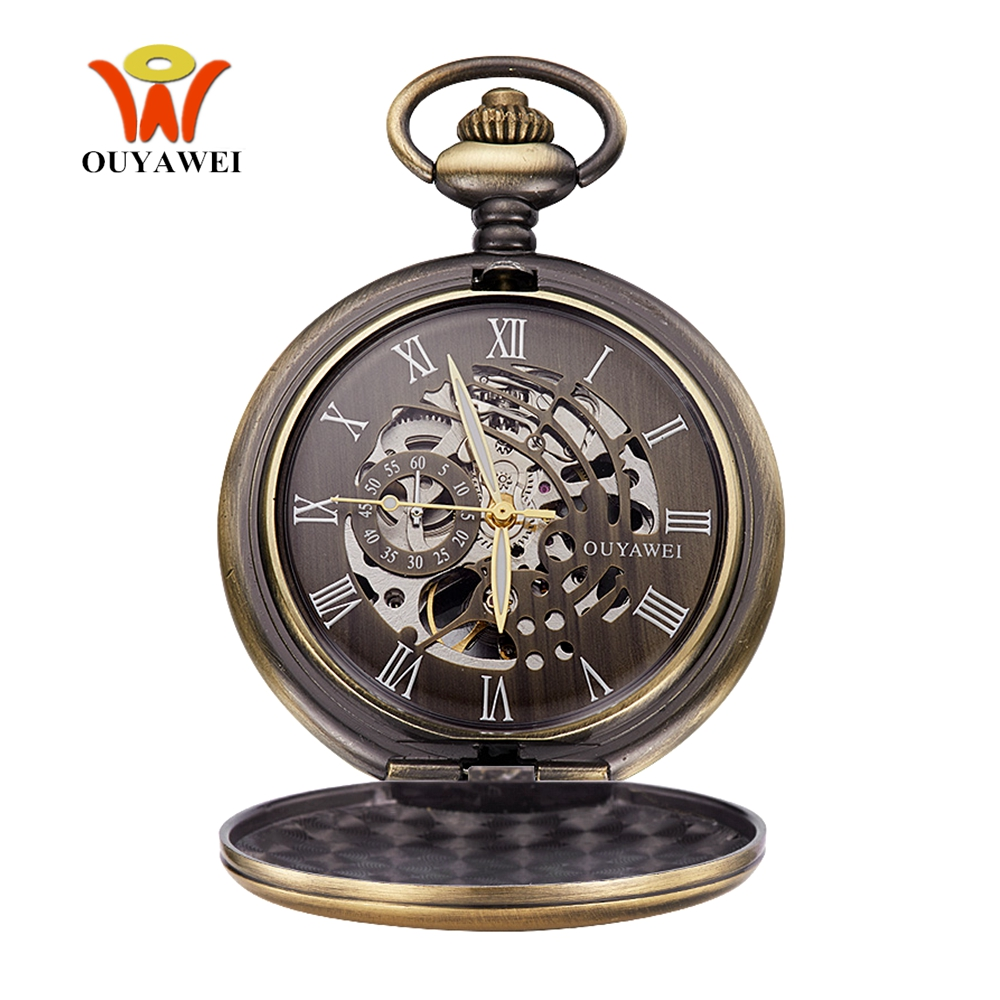 Fashion Relogio OYW Pocket Fob Watches Skeleton Mechanical Hand Wind Watch Men Retro Pendant Pocket Watch Men Clock Montre Homme