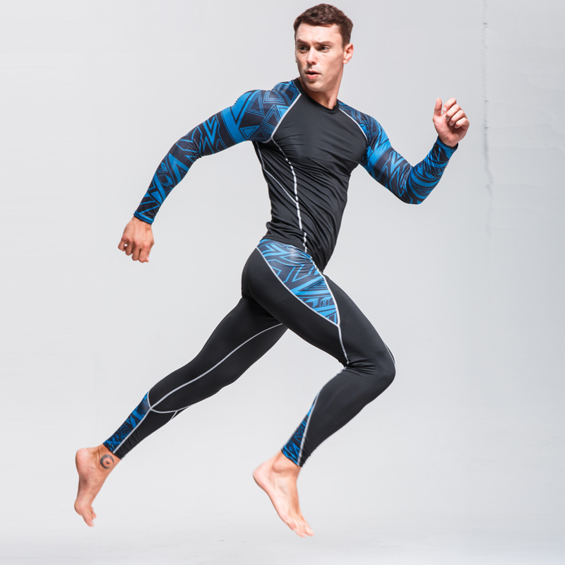 Man Compression Sports Suit Quick drying Perspiration Fitness Training MMA Kit rashguard Male Sportswear Jogging Running Clothes in Trainning Exercise Sets from Sports Entertainment