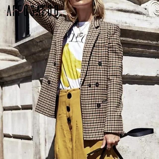 Affogatoo Fashion double breasted plaid blazer women Long sleeve slim OL blazer 2018 Casual autumn jacket blazer female 2